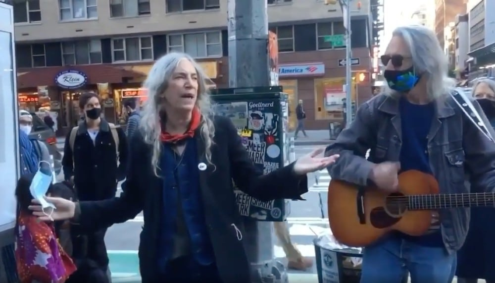 Patti Smith Performs 'People Have The Power' For NYC Voters On Sixth Ave
