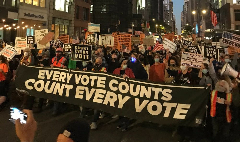 Hundreds Of New Yorkers March Down Fifth Ave To Demand That Every Election Vote Is Counted