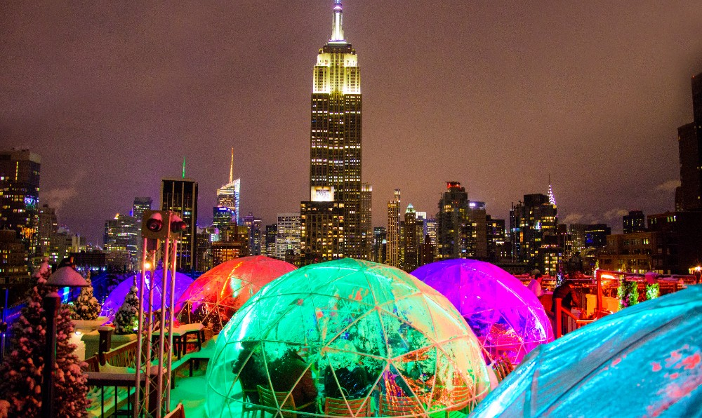 230 Fifth Now Has Magical Outdoor Movie Nights In Their Cozy Rooftop Igloos