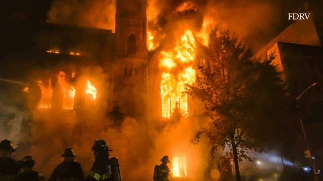Fire tears through New York East Village church