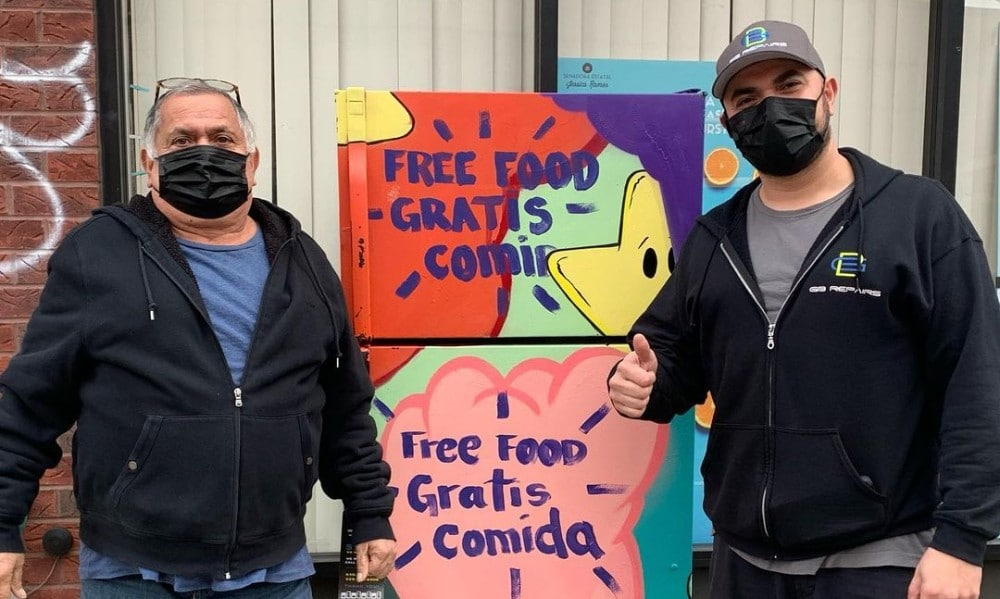 Vandalized Queens Community Fridge Is Back Up & Running Thanks To Generous NYers