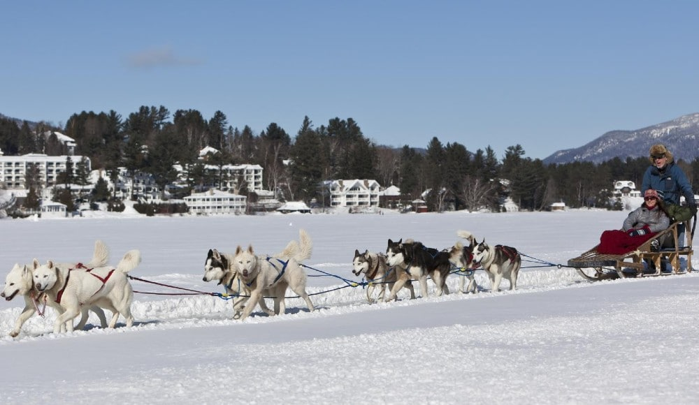 You Can Go Dog Sledding Beneath Snow-Covered Mountains In Upstate New York