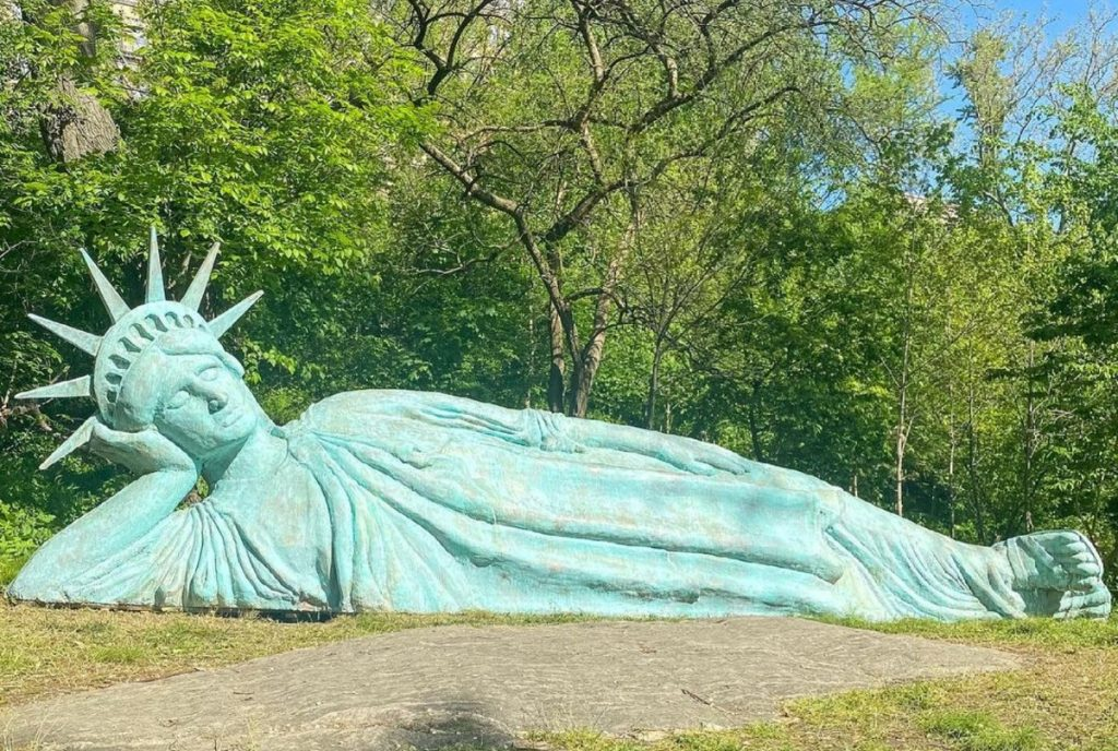 Lady Liberty Can Now Be Found Catching Some Z's In Morningside Park