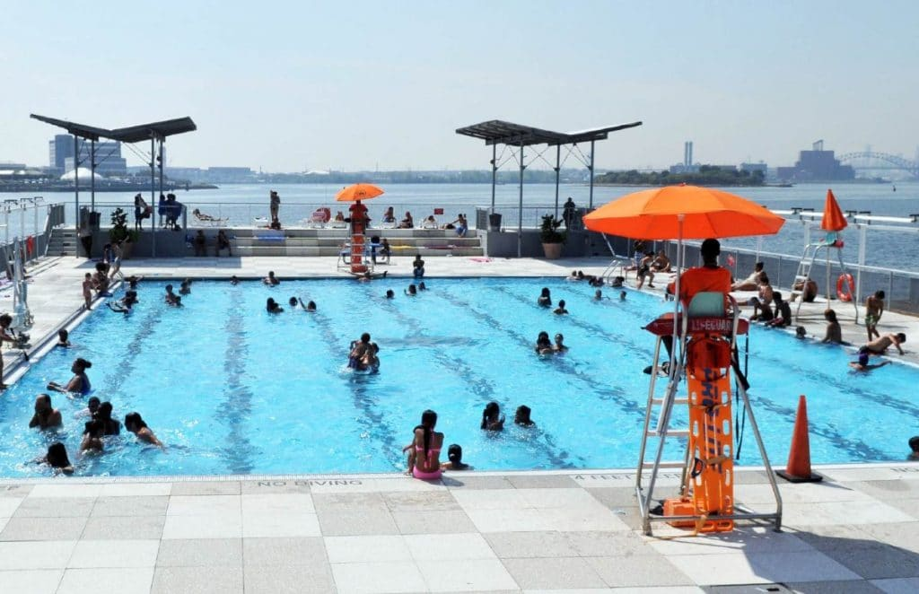 America's Only Floating Pool Has Reopened For The Summer In NYC • Floating Pool Lady