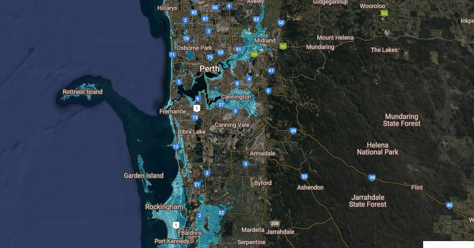 Use This Online Tool To See How Sea-Level Rise Could Affect Perth
