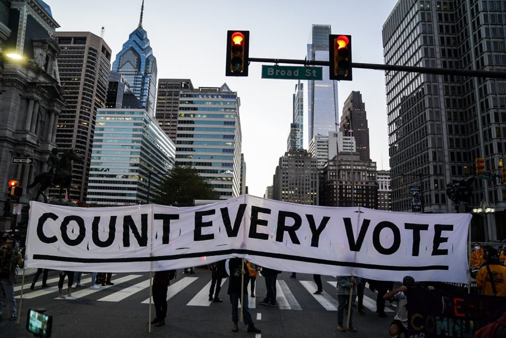 Hundreds Of Philadelphians Marched Across The City Last Night To Demand That Every Election Vote Is Counted