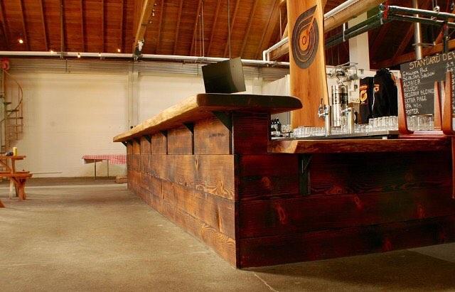Lofty redwood beer bar