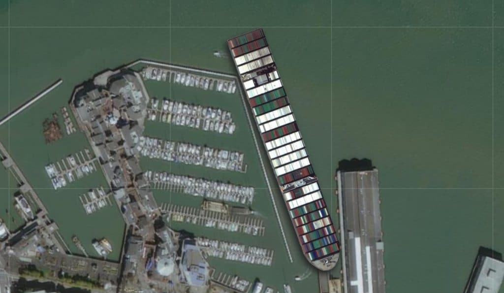 """Here's What The Gigantic """"Ever Given"""" Container Ship Would Look Like Around San Francisco"""