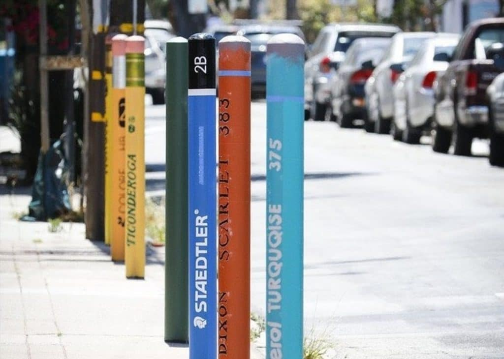These Parking Posts In The Mission Look Like Giant Realistic Pencils