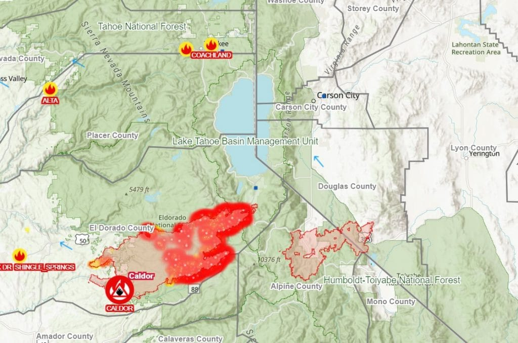 This Interactive Map Shows How Close The Caldor Fire Is Burning To Lake Tahoe
