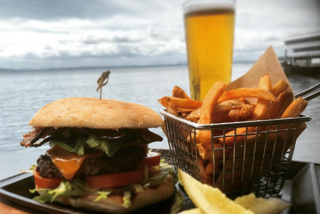 hamburger fries beer