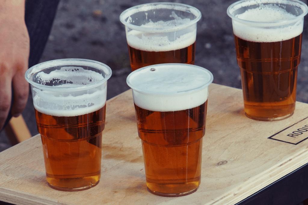 plastic glasses beer