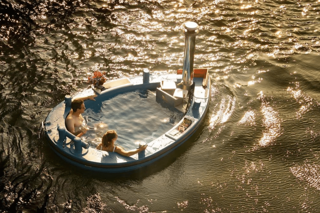 hot tub boat lake couple