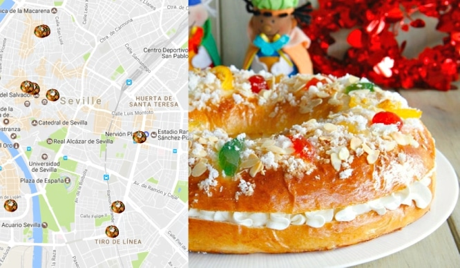 Mapa del mejor Roscón de Reyes de Sevilla