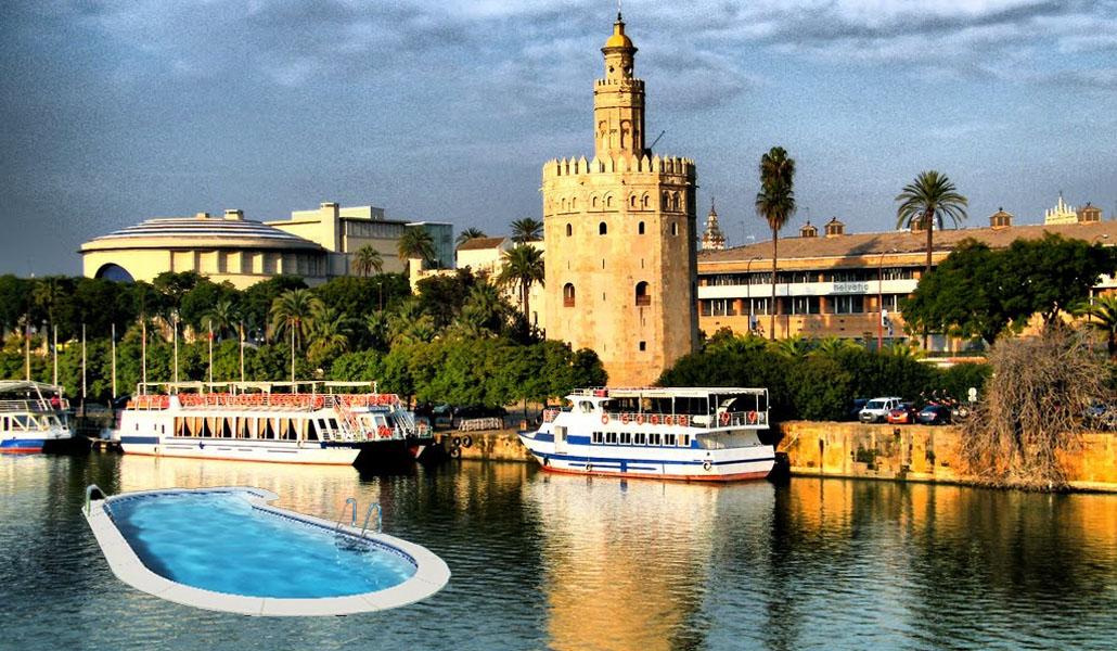 Piscinas flotantes sobre el Guadalquivir: la medida que propone Participa Sevilla