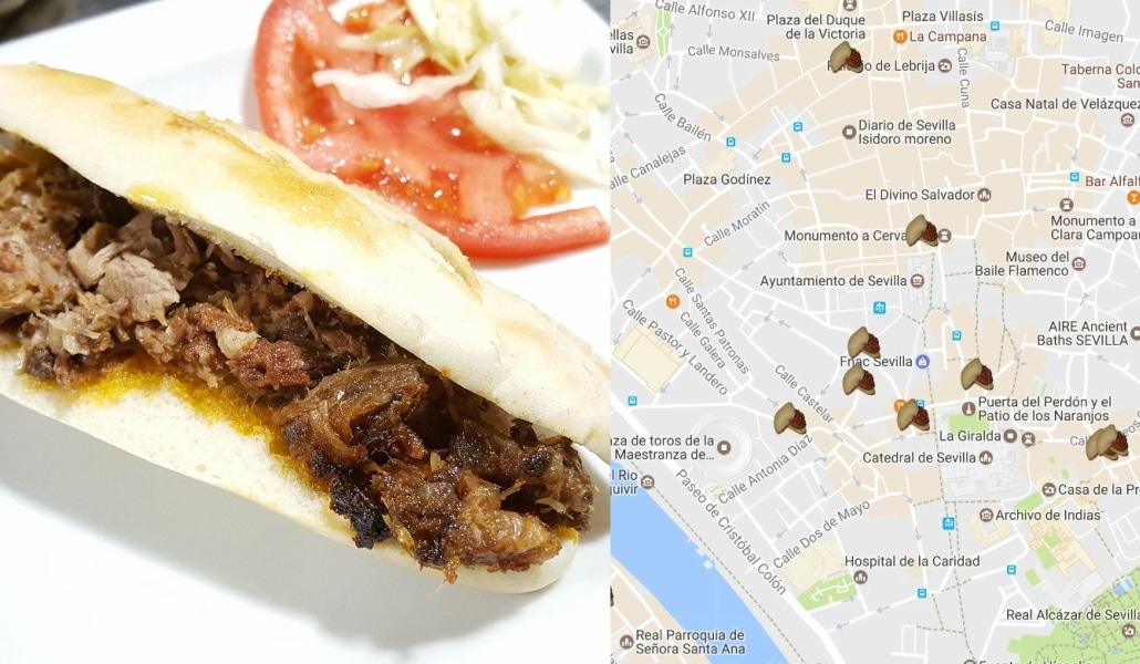 Mapa con los lugares donde comer la mejor pringá de Sevilla