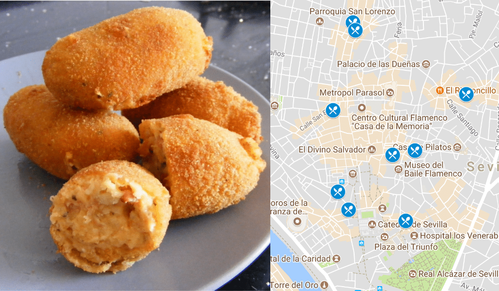Mapa de lugares donde comer barato en Sevila