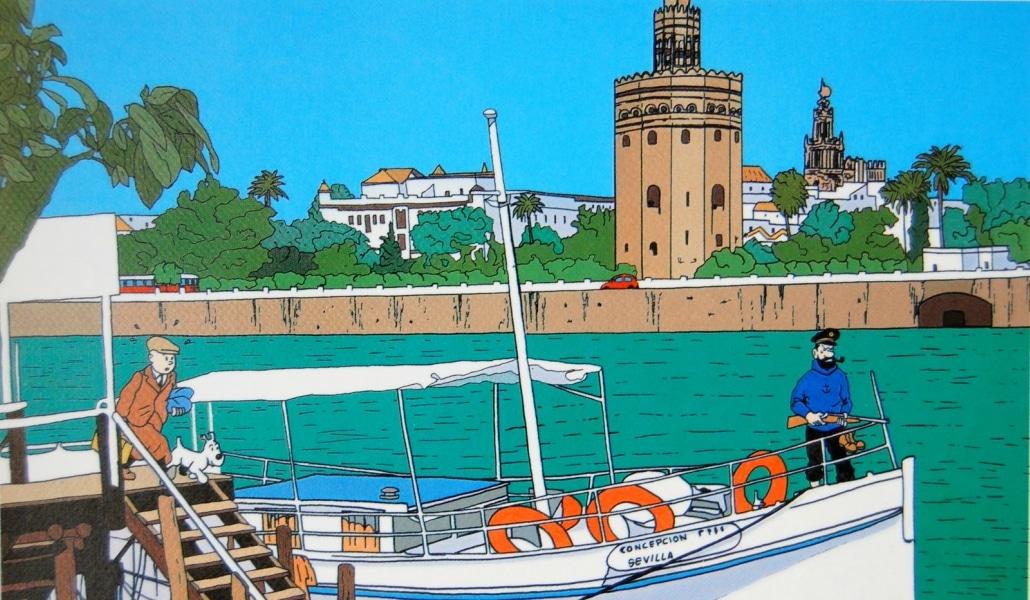 Dos ilustradores recrean una aventura de Tintín en Sevilla