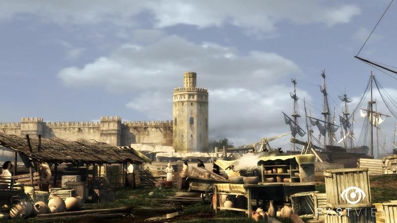 Puerto-de-la-Sevilla-del-siglo-XVII-con-Torre-del-Oro-al-fondo