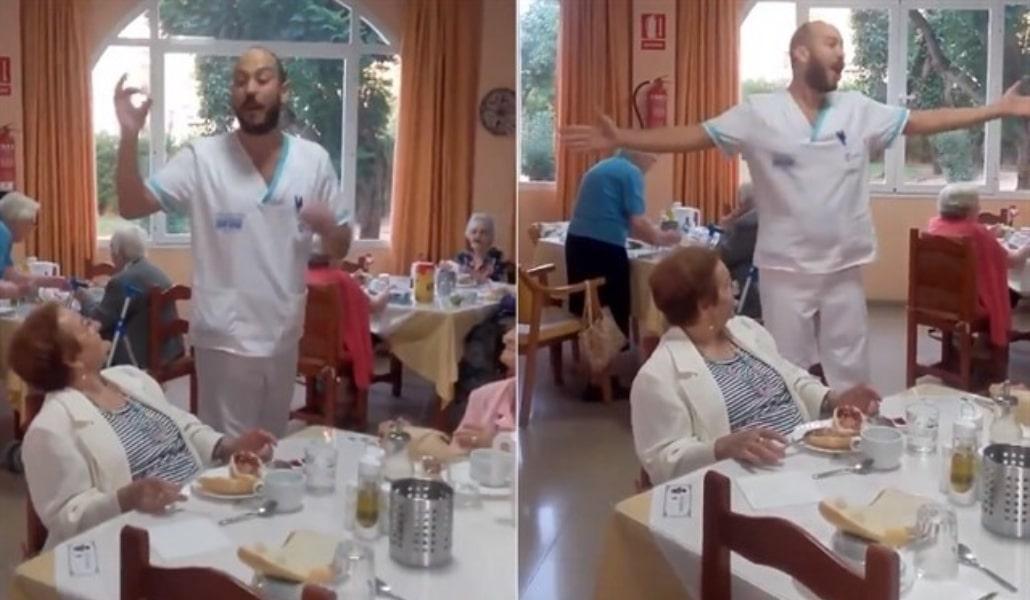 Un auxiliar de un geriátrico sevillano se hace famoso por regalar coplas a los ancianos