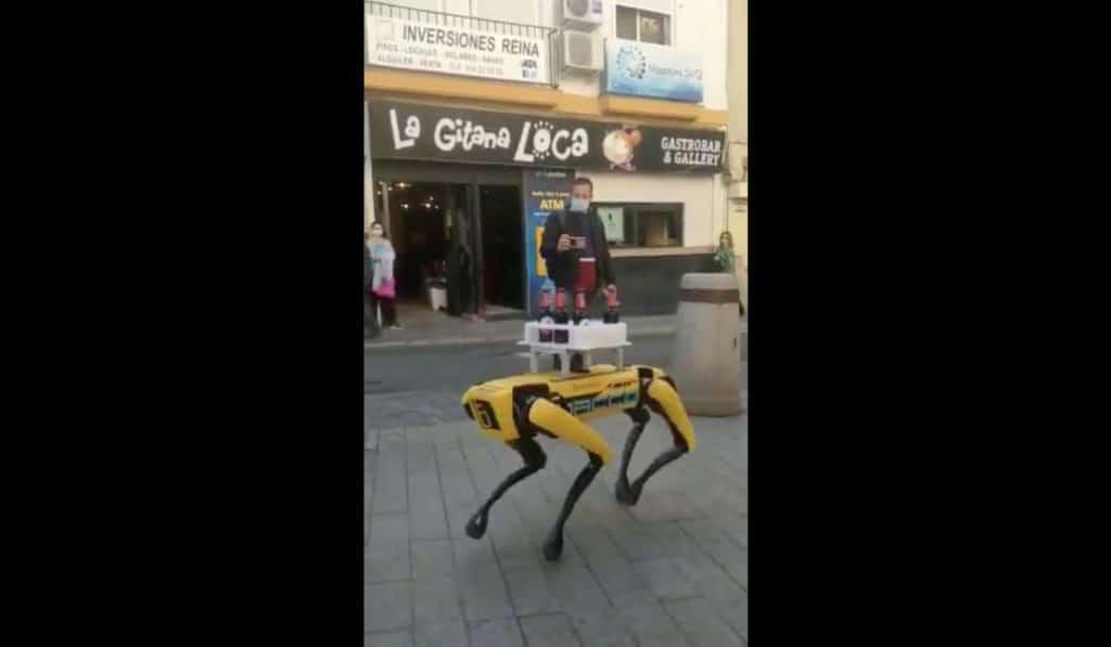 Un robot canino sorprende sirviendo cervezas en un bar de la Cuesta del Rosario de Sevilla
