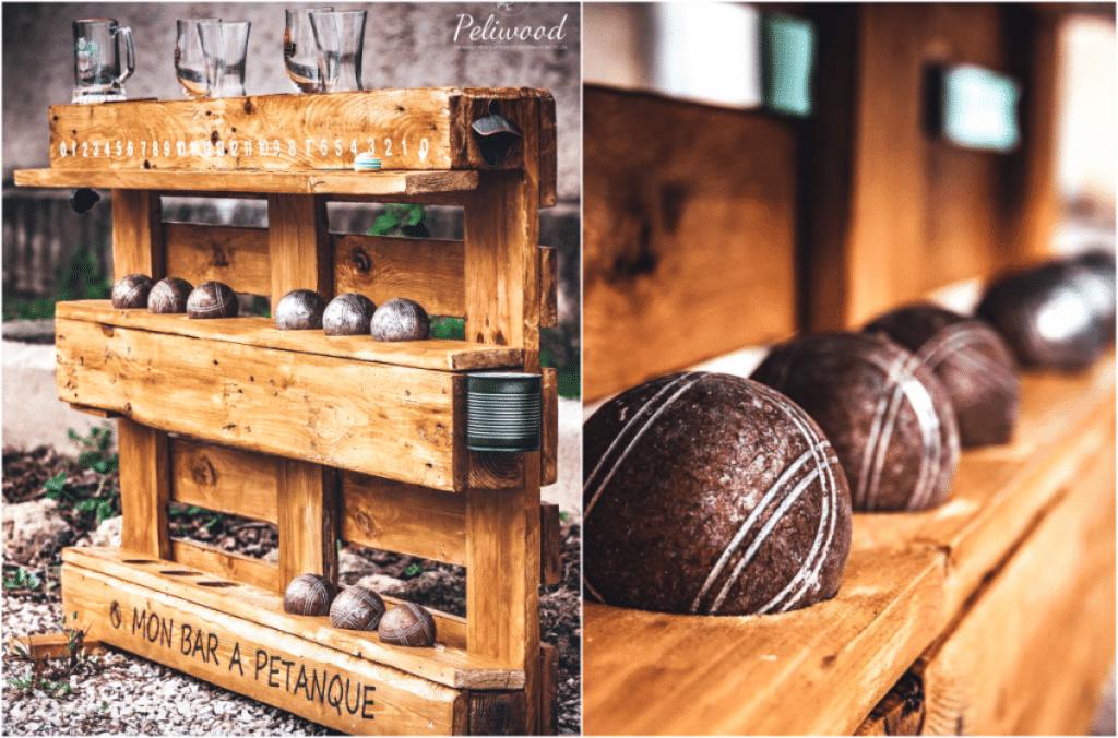 Une créatrice sur bois imagine un Bar à Pétanque personnalisable à base de palettes !