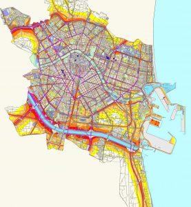 Mapa de ruido de Valencia. Cuanto más morado, más ruido