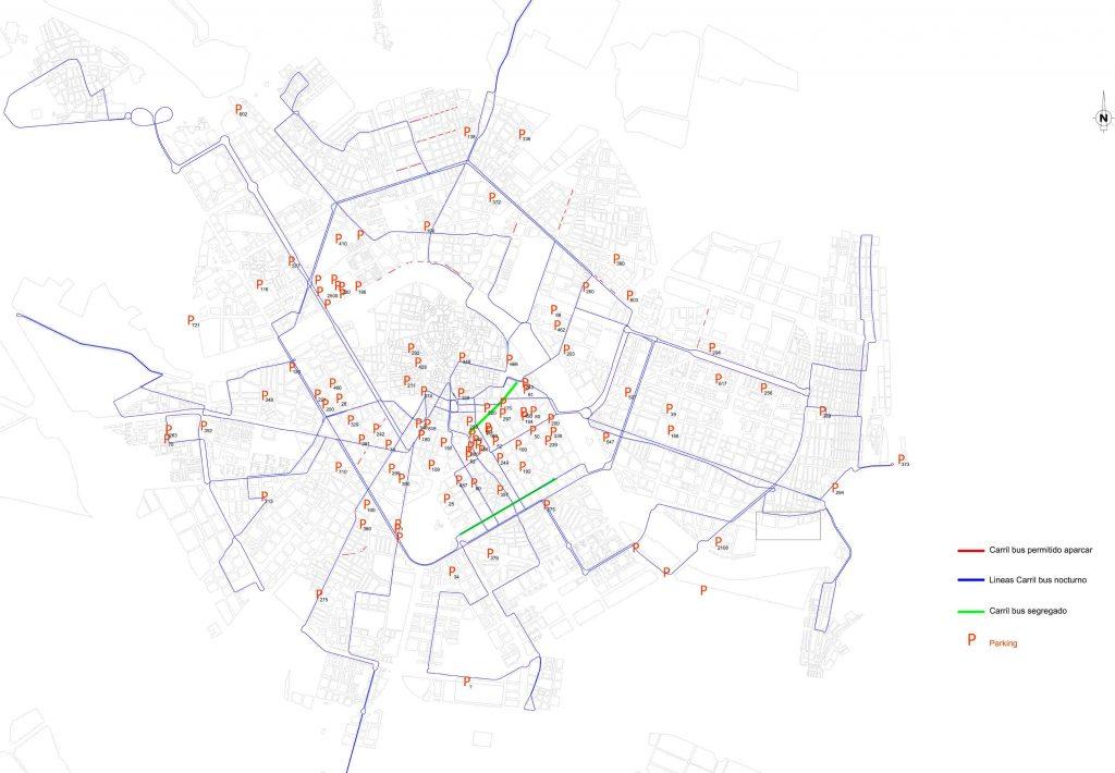 mapa zonas aparcamientos carril bus
