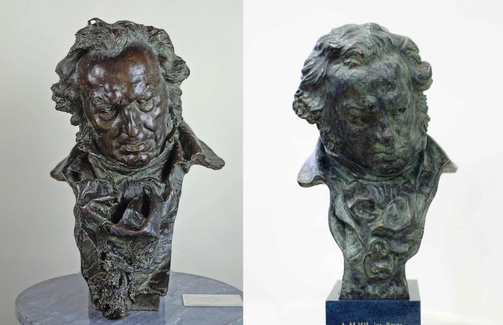 A la izquierda, el de Benlliure. A la derecha, la estatuilla actual / Foto: Museo Prado y Academia del Cine