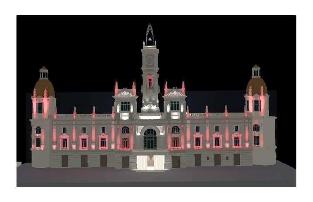 ayuntamiento valencia luces fachada