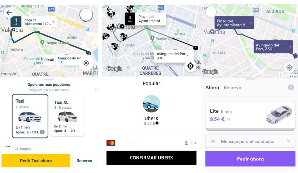 cabify uber mytaxi valencia
