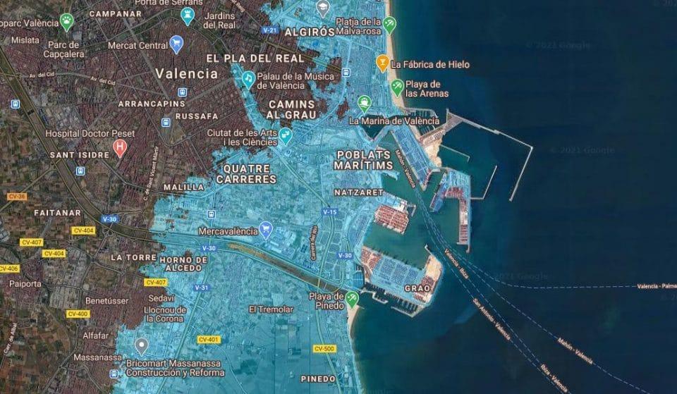 Así quedaría Valencia ante una subida del nivel del mar
