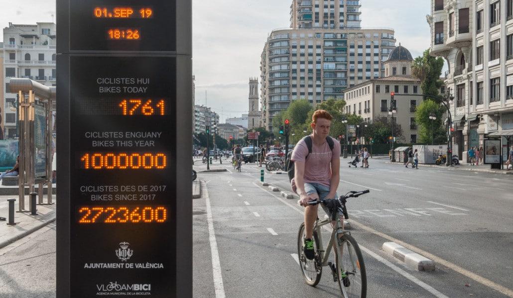El anillo ciclista de Valencia supera el millón de desplazamientos en ocho meses