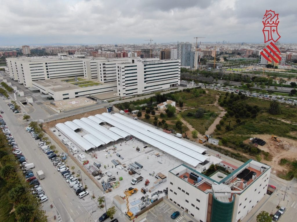 El hospital de campaña de Valencia se terminará de construir este fin de semana