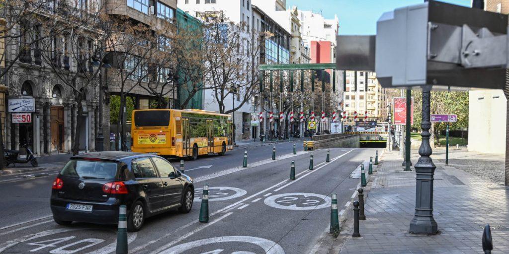 El tráfico se ha reducido hasta un 70% en el centro de Valencia