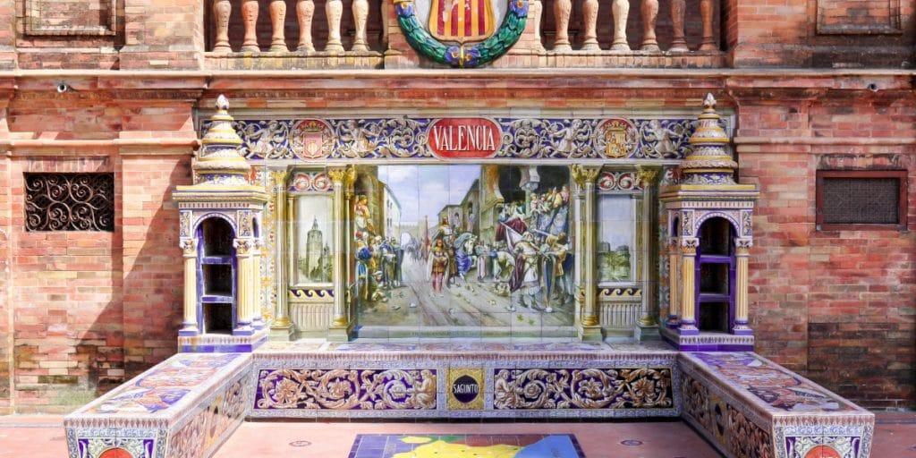 El homenaje a Valencia en la Plaza España de Sevilla